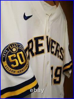 Corbin Burnes GAME USED 8/3/20 Milwaukee Brewers Home Cream Jersey MLB Hologram
