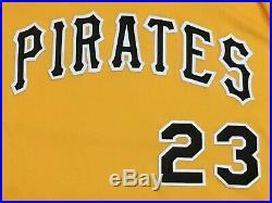 DAVID FREESE SIZE 50 #23 2017 Pittsburgh Pirates GAME USED jersey alt GOLD MLB