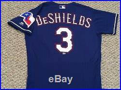 DELINO DESHIELDS JR sz 40 #3 2018 Texas Rangers game jersey alt blue issued MLB