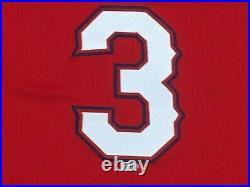 DELINO DESHIELDS JR sz 40 #3 2018 Texas Rangers game jersey alt red issued MLB