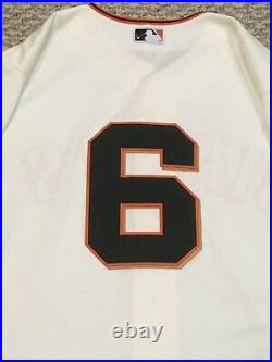 DUGGAR size 44 #6 2019 SAN FRANCISCO GIANTS GAME ISSUED JERSEY CREAM MLB HOLO