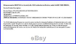 Dan Haren Game Used Jersey Homestead Grays Washington Nationals Oakland A's COA