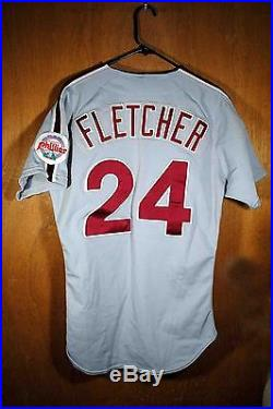 Darrin Fletcher Game Used 1991 Philadelphia Phillies Road Jersey