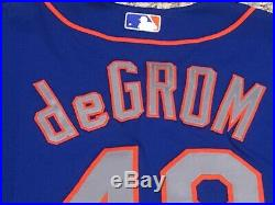 DeGROM size 48 #48 New York Mets game jersey issued road blue MLB HOLOGRAM
