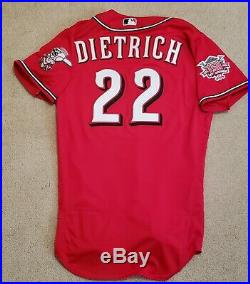 Derek Dietrich Game Used Game Worn Jersey Cincinnati Reds Los Rojos