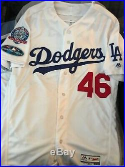 Dodgers Game Used 2018 Postseason Jersey #46 With 60th Anniversary Patch! Size 44