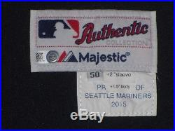 Felix Hernandez SZ 50 #34 2015 Seattle Mariners game used jersey Road Navy MLB