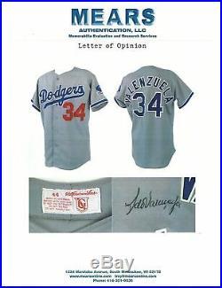 Fernando Valenzuela Signed 1983 Los Angeles Dodgers Game Used Jersey MEARS A10