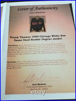 Frank Thomas game used White Sox rookie collection. Athlete authenticated plus