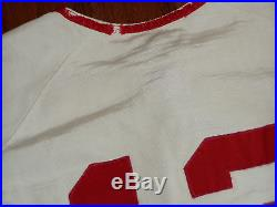 GAME USED 1960S VINTAGE DURENE BASEBALL JERSEY CINCINNATI REDS 1970s FLANNEL