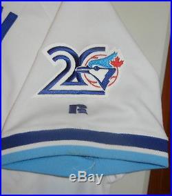 GAME USED WORN Russell JUAN GUZMAN TORONTO BLUE JAYS 1996 Patch Jersey 48 Olerud