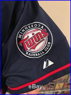 GORGEOUS Justin Morneau Auto'd Blue Authentic GAME WORN Jersey, Minnesota Twins