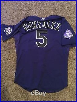 Game Worn Carlos Gonzalez jersey Colorado Rockies 20th Anniversary (Autographed)