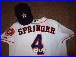 low priced 9b4b6 260a0 George Springer 2014 Game Used Worn Astros Jersey & Hat MLB ...