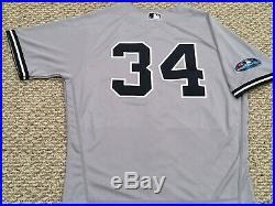 HAPP #34 size 46 2018 Yankees Game Jersey issued ROAD POST SEASON MLB STEINER