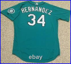 HERNANDEZ size 50 #34 2018 Seattle Mariners game jersey ISSUE home teal MLB HOLO
