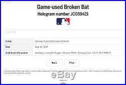 IAN HAPP GAME USED 1st CAREER HOME RUN, HIT, & DOUBLE BAT Chicago Cubs