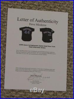JASON ISRINGHAUSEN #44 1999 New York Mets Game Used jersey ALT BLACK MIEDEMA