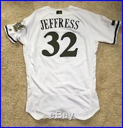 Jeremy Jeffress 2018 Memorial Day Milwaukee Brewers game used Worn Jersey MLB