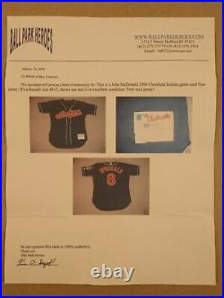 John McDonald 2004 Cleveland Indians Game Used Alternate Blue Jersey w COA/LOA