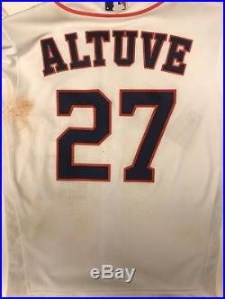 Jose Altuve Houston Astros Game Used Worn WORLD SERIES Jersey 2017 MLB Auth