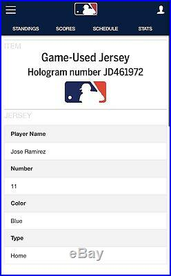 Jose Ramirez Game Used 2 HOME RUN Jersey /Cap Combo, Cleveland Indians, MLB Auth