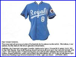 Kansas City Royals Game Worn 1991 Rawlings Jersey Jim Eisenreich Mears Authentic