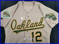 Lance Blankenship 1992 Oakland Athletics #12 Game Used Road Grey Jersey