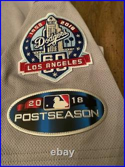 Los Angeles Dodgers game used/issued Jersey, 2018 postseason Brown #37 sz 46