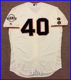save off 96e61 f6b11 Madison Bumgarner MLB Holo Game Used Jersey 2016 Win Home ...