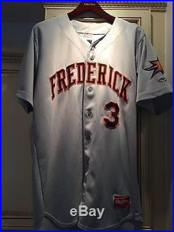 Manny Machado Game Used Away Jersey, Worn 2011, Frederick Keys Orioles Heavy Use