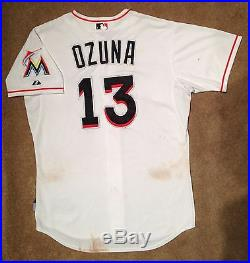 Marcell Ozuna MLB Holo Game Used Jersey 2015 Opening Day Home Miami Marlins