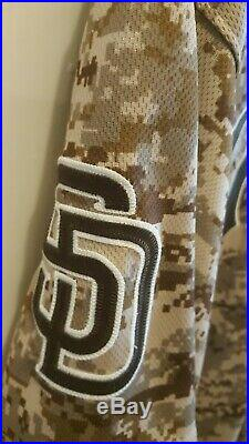 Matt Kemp 2015 military camo game used jersey MLB COA Padres