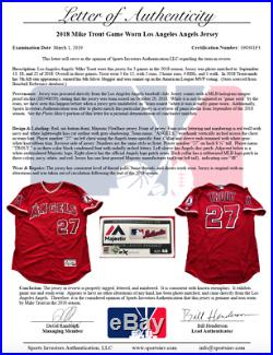 Mike Trout Los Angeles Angels Game Used Worn Jersey 2 HRs MLB Auth Matched
