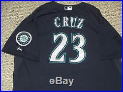 Nelson Cruz Size 54 #23 2015 Seattle Mariners game used jersey Road Navy Blue
