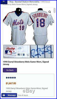 New York Mets Darryl Strawberry Signed GAME USED ISSUED Rawlings Jersey withCOA