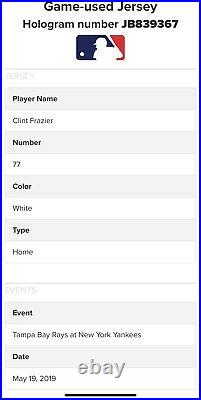 New York Yankees Clint Frazier Game Worn Home Jersey Photomatch