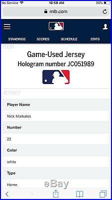 Nick Markakis Atlanta Braves Game Used Worn Jersey 2017 MLB Auth