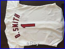 OZZIE SMITH 1995 St. LOUIS CARDINALS GAME USED/WORN HOME JERSEY AUTO Signed