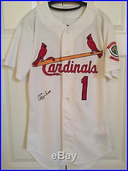 OZZIE SMITH 1996 St. LOUIS CARDINALS GAME USED/WORN HOME JERSEY AUTO FINAL YEAR