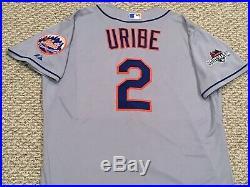 POSTSEASON URIBE sz 50 #2 2015 New York Mets game jersey issued road gray MLB