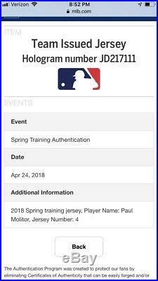 Paul Molitor GAME USED 2018 Minnesota Twins Jersey Hall of Fame MLB Hologram