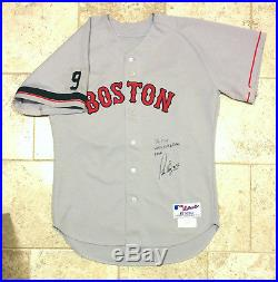 Pedro Martinez Game Used Worn Red Sox Jersey Ted Williams #9 Photo Matches