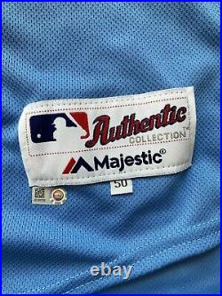 Phillies Jersey James Pazos Team Game Issued Used Worn Powder Blue Retro 2019 50