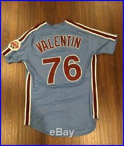 Phillies Team Game Issued Used Worn Powder Blue Retro Jersey Jesmuel Valentin 76