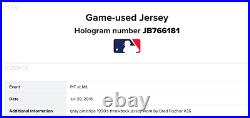 Pittsburgh Pirates Throwback Jersey Game Used -MLB- Brad Fischer Size 50