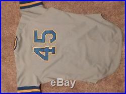 ROB DEER #45 game used/worn Milwaukee Brewers road away jersey vintage 1989