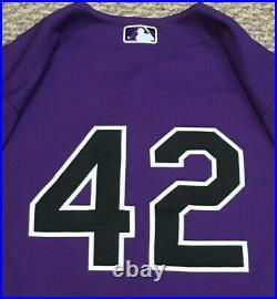 RODRIGUEZ SIZE 44 2021 JACKIE ROBINSON Colorado Rockies game jersey road MLB