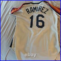 Rafael Ramirez 1992 Astros Game Used Worn Rainbow Cream Road Jersey Braves