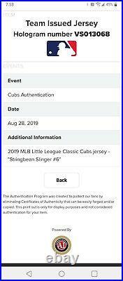 Rare CARL EDWARDS JR 2019 CHICAGO CUBS Game Jersey Little League World Series